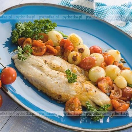 Tilapia lub panga z winem i pomidorami grillowana w folii