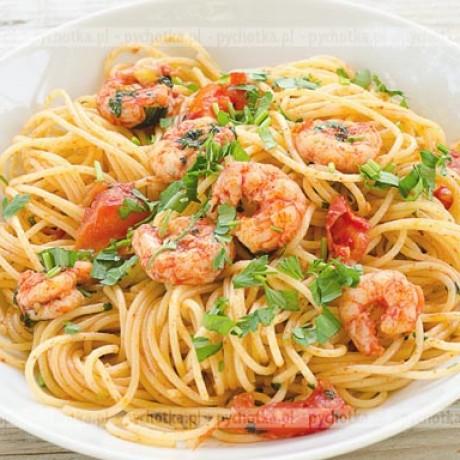 Spaghetti z krewetkami Łukasza